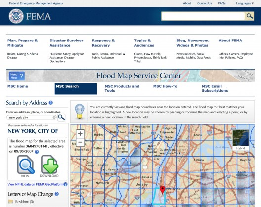 FEMA flood map service center