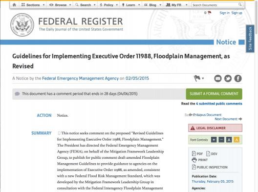 Federal Register Executive Order 11988