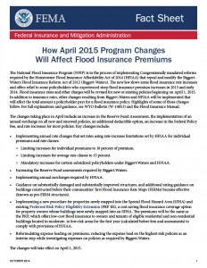 FEMA April 2015 Flood Insurance Changes