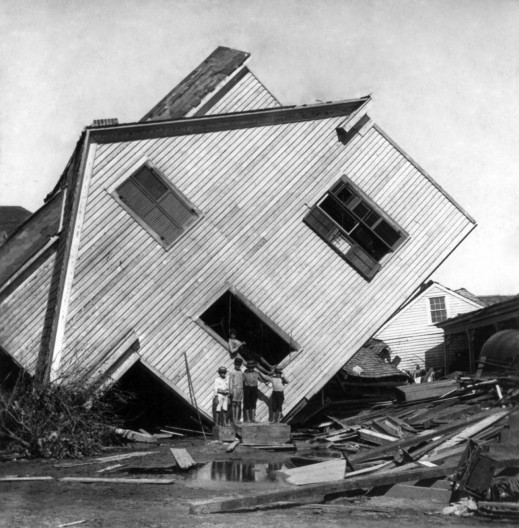 Galveston Disaster, Texas, 1900: house on Avenue N slightly moved with flood