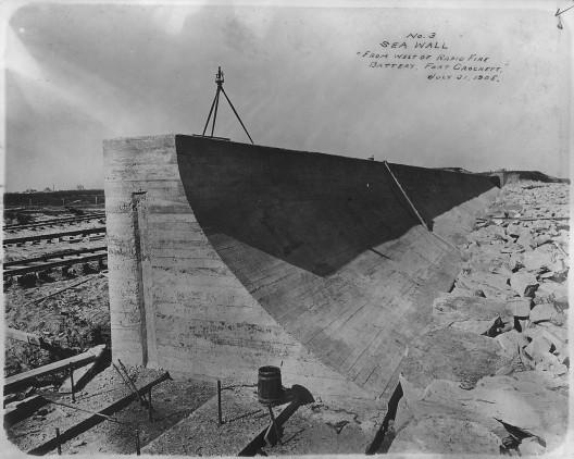 Sea Wall from west of Rapid Fire Battery, Fort Crockett