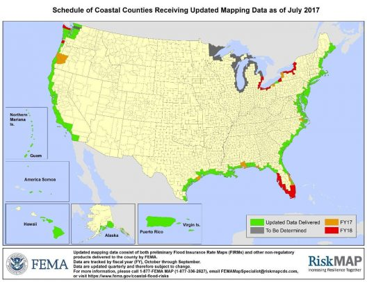 FEMA Risk Map Updates as of July 2017