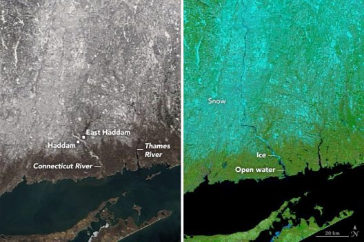 Connecticut ice jam images - NASA