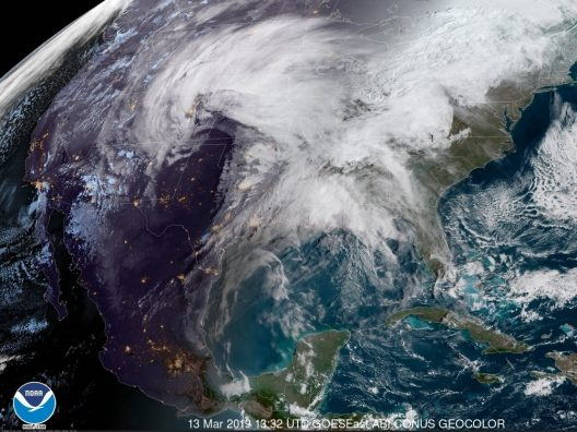 NOAA satellite image of bombogenesis - March 13, 2019