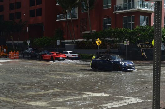 Sunny day tidal flooding in Miami, October 17, 2016